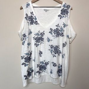 Lucky Brand Cold Shoulder Floral Embroidered Top